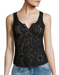 Free People Crinkled Floral Lace Cami Black