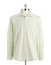 Calvin Klein Checkered Button Down Shirt Sea Grass