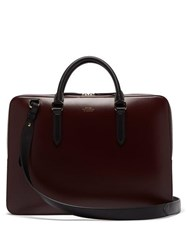 Smythson Foiled Logo Box Calf Leather Briefcase Burgundy