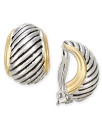 Charter Club Two Tone Textured Clip On Huggy Earrings Only At Macy's Two Tone