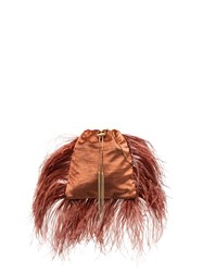 Rosantica Mademoiselle Feather Trimmed Pouch Bag Brown