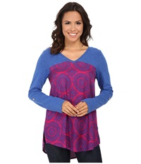 Hatley Mixed Media Blouse Berry Mosaic Women's Blouse Pink