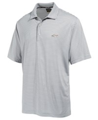 Greg Norman For Tasso Elba Men's Big And Tall 5 Iron Striped Performance Polo Only At Macy's Light Grey