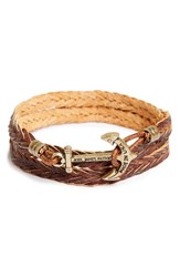 Men's Kiel James Patrick 'Jet Rowan' Woven Leather Wrap Bracelet Antique Cognac