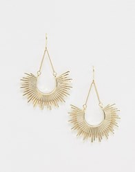 Ny Lon Nylon Half Burst Sunrise Earrings Gold