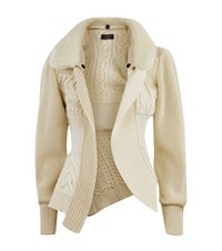 Burberry Runway Mixed Knit Shearling Collar Cardigan Female White