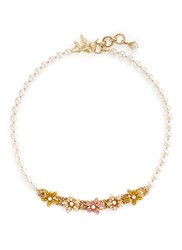 Miriam Haskell Bird Clasp Beaded Floral Glass Pearl Necklace White Multi Colour
