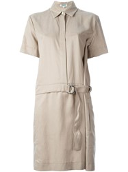 Kenzo Belted Shirt Dress Nude And Neutrals