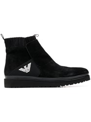 Emporio Armani Knitted Lining Ankle Boots Black