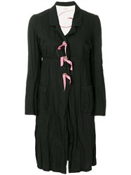 Romeo Gigli Vintage Creased Midi Coat Black