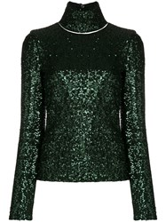 Gianluca Capannolo Embellished Turtle Neck Top Green