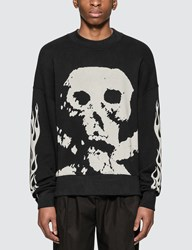Palm Angels Skull And Flames Sweatshirt Black
