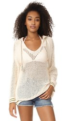 Free People Shadow Stripe Mesh Hoodie Ivory