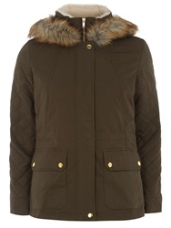 Dorothy Perkins Petite Cotton Parka With Faux Fur Khaki