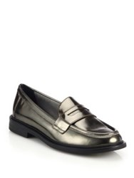 Cole Haan Shiny Leather Oxfords Dark Silver