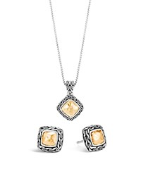 John Hardy 18K Gold And Sterling Silver Classic Chain Heritage Earrings And Pendant Necklace Gift Box Set Silver Gold