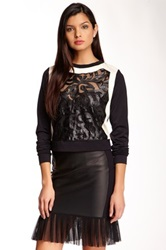 Lapina Lace And Leather Long Sleeve Tee Black