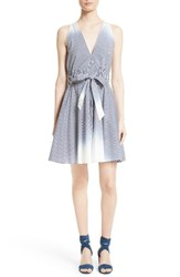 Milly Women's Lola Ombre Stripe Belted Fit And Flare Dress