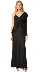 Diane Von Furstenberg Asymmetrical Ruffle Sleeve Floor Length Dress Black