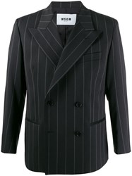 Msgm Pinstriped Double Breasted Blazer Black