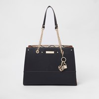 River Island Black Charm Structured Chain Tote Bag