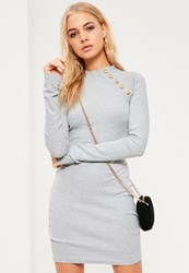 Missguided Grey Military Button Bodycon Dress