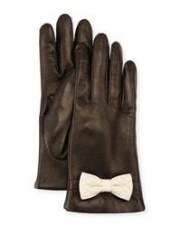 Portolano Leather Bow Cuff Gloves Black White Black White