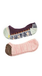 Madewell Spring Fling No Show Sock Two Pack Peach Cabernet