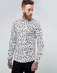 Religion Smart Shirt With Heart Print In Skinny Fit Wht Blk White