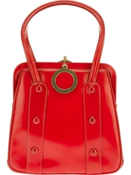 Katheleys Vintage Leather Frame Tote Red