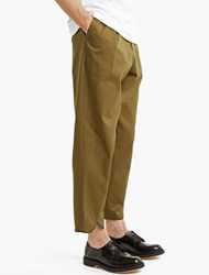 J.W.Anderson Khaki Pleated Cotton Trousers Green