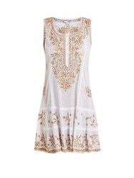 Juliet Dunn Floral Embroidered Cotton Mini Dress White Multi