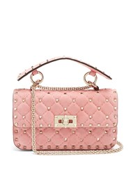 Valentino Rockstud Spike Small Quilted Suede Shoulder Bag Pink