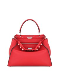 Fendi Peekaboo Medium Studded Leather Satchel Bag Red