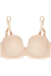 Stella Mccartney Smooth And Lace Stretch Crepe And Lace Strapless Bra