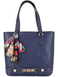 Love Moschino Logo Plaque Shoulder Bag Blue