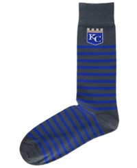 For Bare Feet Kansas City Royals Thin Stripes Socks Charcoal Royalblue