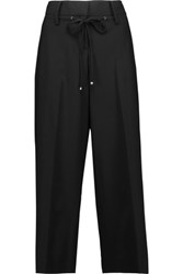 Kaufman Franco Kaufmanfranco Cropped Wool Blend Wide Leg Pants Black