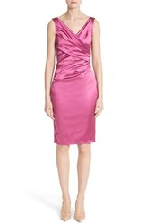 Talbot Runhof Women's Pleat Wrap Stretch Satin Sheath Dress