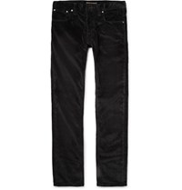 Nudie Jeans Grim Tim Slim Fit Organic Stretch Cotton Corduroy Trousers Black