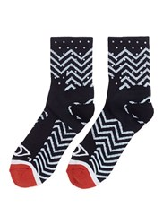 Icny Zigzag Intarsia Quarter Ankle Socks Multi Colour