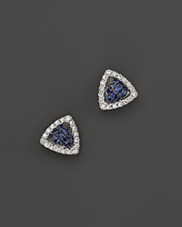 Dana Rebecca Designs 14K White Gold Emily Sarah Triangle Stud Earrings With Blue Sapphire And Diamonds