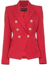 Balmain Double Breasted Blazer Red