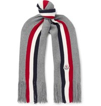 Moncler Striped Fringed Virgin Wool Scarf Gray