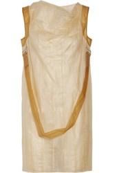 Rick Owens Paneled Embellished Snake Dress Pastel Yellow