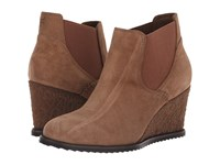 Trask Tatum Taupe Oiled Italian Suede Wedge Shoes Brown