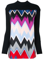 Salvatore Ferragamo Chevron Print Blouse Black