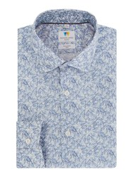 Richard James Blue Triangle Geometric Print Shirt Navy
