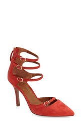 Linea Paolo Women's 'Madi' Ankle Strap Pump Red Pepper Suede