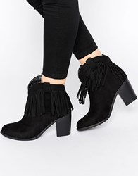 Truffle Collection Chloe Tassel Western Heeled Ankle Boots Black